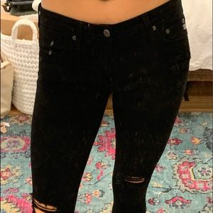 AG ankle skinny black distressed jeans